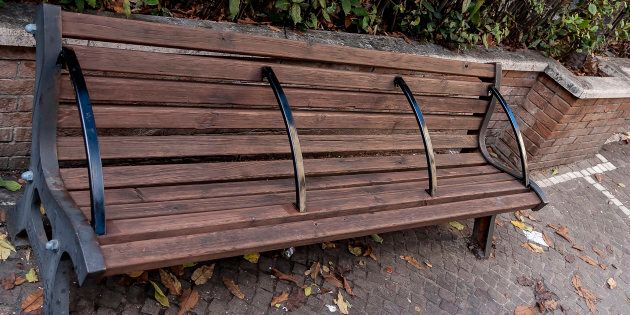 Some benches with bars, like this one seen in Rome, Italy, are brought up in discussions