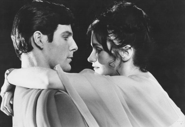 Actors Christopher Reeve and Margot Kidder in a scene from the movie 'Superman',