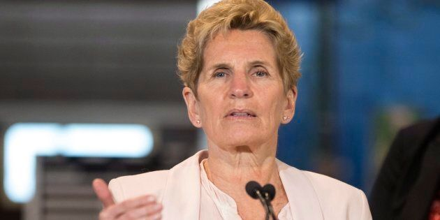 Ontario Liberal Leader Kathleen Wynne makes a policy announcement at the Finishing Trades Institute of...