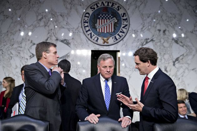 Senator Richard Burr, a Republican from North Carolina and chairman of the Senate Intelligence Committee, center, and ranking member Senator Mark Warner, a Democrat from Virginia, left, arrive to a confirmation hearing for Gina Haspel, director of the Central Intelligence Agency (CIA) nominee for President Donald Trump.
