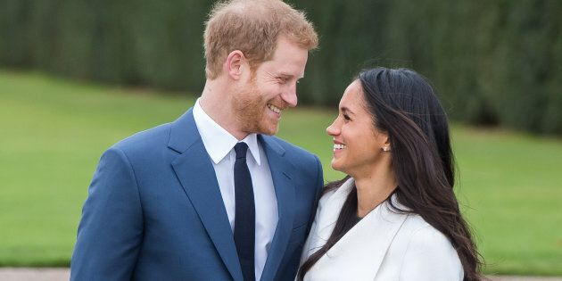 Prince Harry and Meghan Markle during their official engagement photocall on Nov. 27,