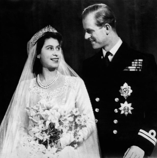 Queen Elizabeth II and Prince Philip on their wedding day in 1947.