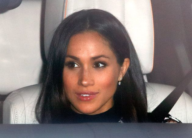 Meghan Markle wears Birks earrings on her way to a Christmas lunch for members of the Royal Family hosted by Queen Elizabeth II at Buckingham Palace on Dec. 20, 2017.