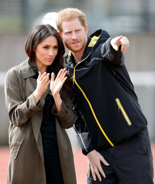 Meghan Markle in an Aritzia trench coat at the U.K. Team Trials for the Invictus Games Sydney 2018 on April 6, 2018 in Bath, England.