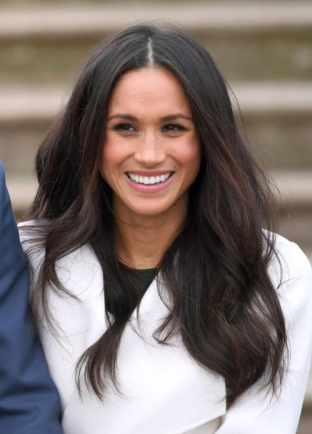 Meghan Markle wearing Canadian brand Line during her engagement photocall at Kensington Palace in