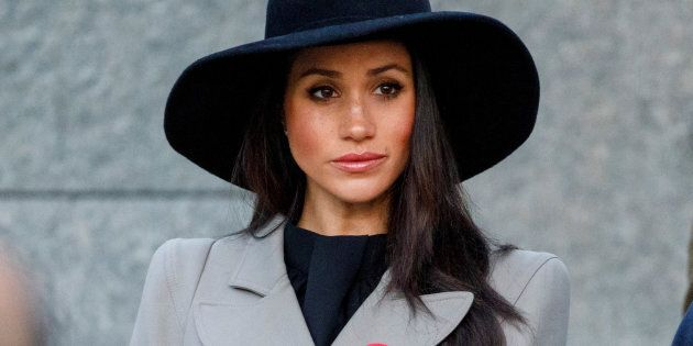 Meghan Markle attends the Dawn Service at Wellington Arch to commemorate Anzac Day in London, Britain,...
