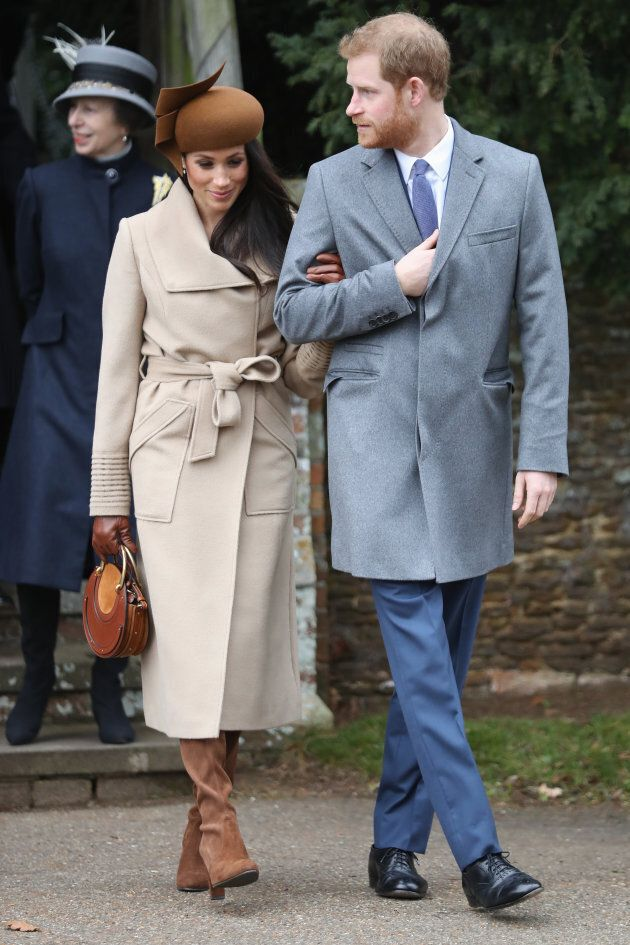 Meghan Markle wears a Sentaler coat at a Christmas Day Church service at Church of St Mary Magdalene on Dec. 25, 2017.