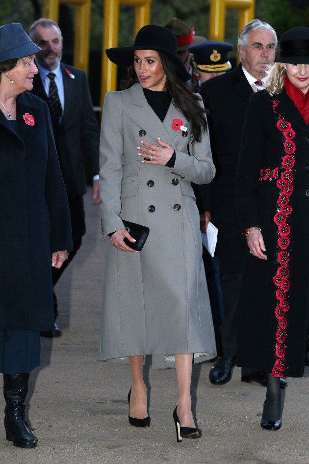 Meghan Markle wears a Smythe coat at an Anzac Day dawn service at Hyde Park Corner on April 25, 2018 in London.