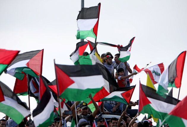 A pro-Palestine rally to mark the 70th anniversary of the Nakba in Lebanon on May 15,