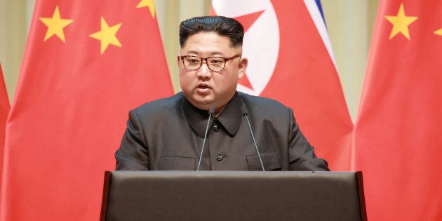 North Korean leader Kim Jong Un makes a speech during a visit to Dalian, China in this undated photo released on May 9, 2018 by North Korea's Korean Central News Agency (KCNA).