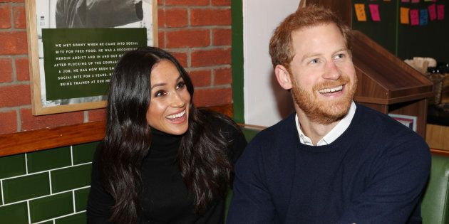 Prince Harry and Meghan Markle during a visit to Scotland on Feb. 13,
