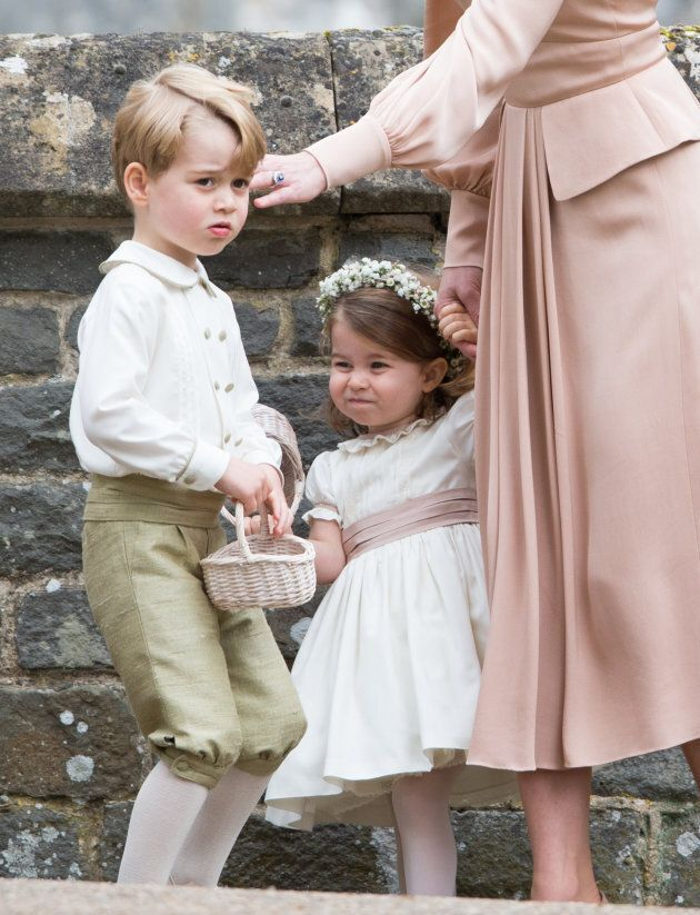 Prince George and Princess Charlotte at Pippa Middleton and James Matthews' wedding on May 20, 2017 in Englefield Green, England.