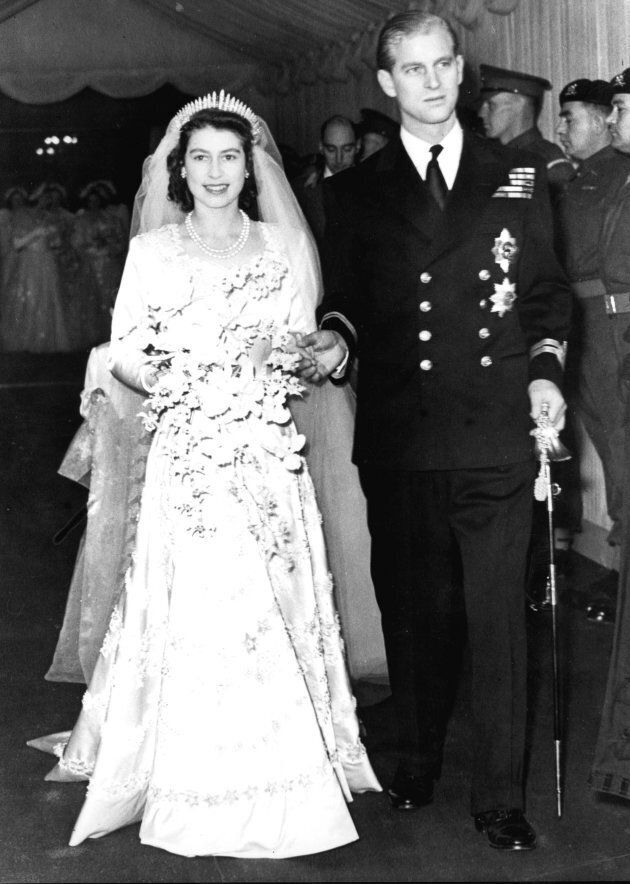 Princess (now Queen) Elizabeth and Prince Philip on their wedding day in 1947.