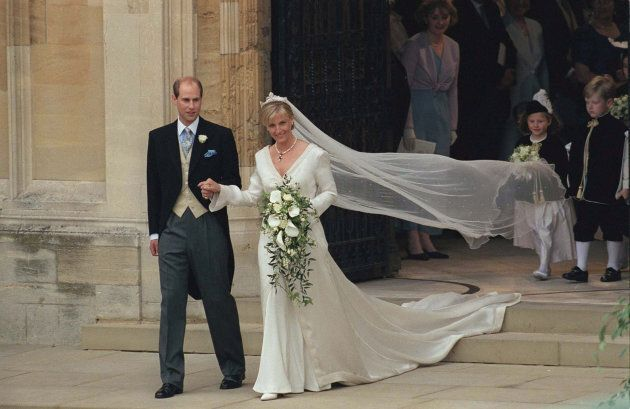 The Earl and Countess of Wessex on their wedding day in Windsor on June 19, 1999.