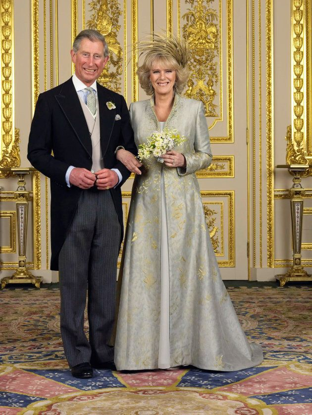 Prince Charles, the Prince of Wales and Camilla, Duchess of Cornwall, pose for their official photograph at Windsor Castle following their marriage.