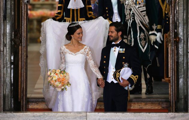 Prince Carl Philip of Sweden and Princess Sofia of Sweden depart after their royal wedding at The Royal...