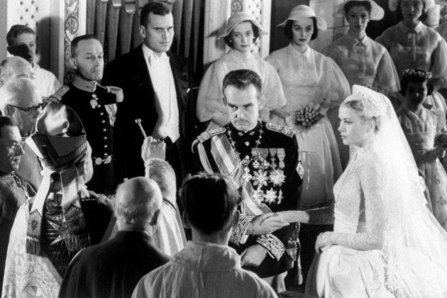 Prince Rainier of Monaco and actress Grace Kelly at their wedding.