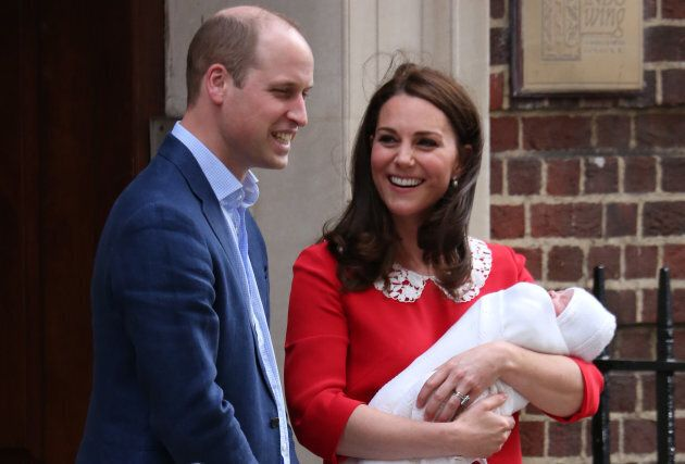 William, Kate and little Louis outside the Lindo Wing at St Mary's Hospital in central London, mere hours...