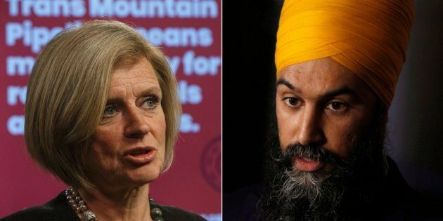 Alberta Premier Rachel Notley and federal NDP Leader Jagmeet Singh are shown in a composite.