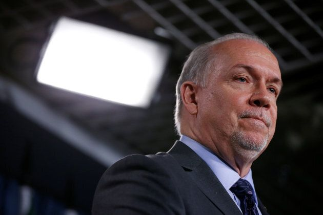 British Columbia Premier John Horgan takes part in a news conference about the state of the Kinder Morgan...