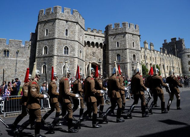 Military personnel rehearse their part in the procession, for Britain's Prince Harry and Meghan Markle's...