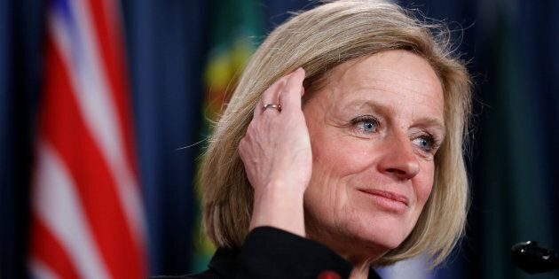 Alberta Premier Rachel Notley takes part in a news conference about the state of the Kinder Morgan pipeline...