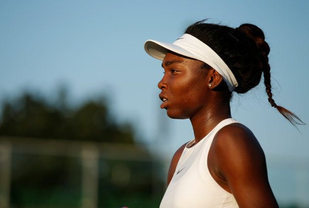 Francoise Abanda is pictured during her second round match against Latvia's Jelena Ostapenko July 5,