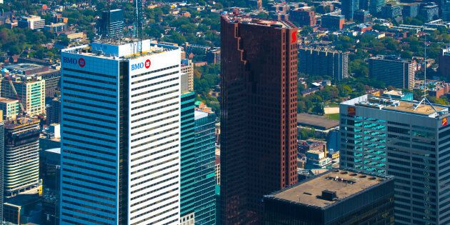 The Bank of Montreal and Bank of Nova Scotia skyscrapers in Toronto's financial district. Both banks...