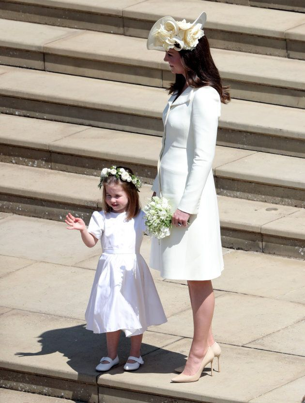 Duchess of Cambridge and Princess Charlotte after the wedding of Prince Harry and Meghan Markle at Windsor