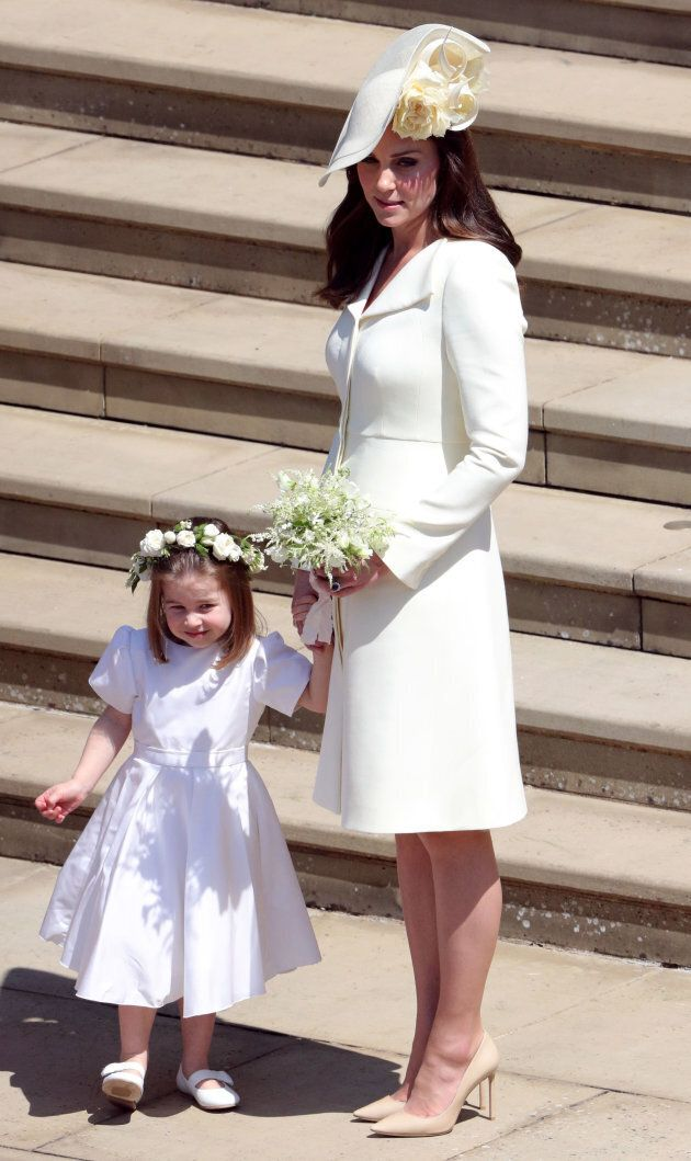 Catherine, Duchess of Cambridge and Princess Charlotte leave St George's Chapel, Windsor Castle after...