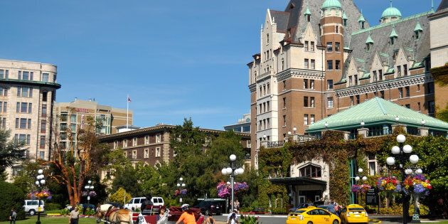 A part of the Fairmont Empress Hotel and surroundings, in Victoria, B.C. The city has been named the...