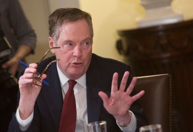 U.S. Trade Representative Robert Lighthizer speaks during a meeting on trade held by U.S. President Donald...
