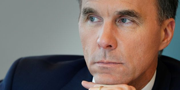 Finance Minister Bill Morneau speaks during an interview with Reuters in Toronto, May 17. Morneau on Thursday highlighted the country's pension funds as possible investors in Kinder Morgan Inc's pipeline expansion.