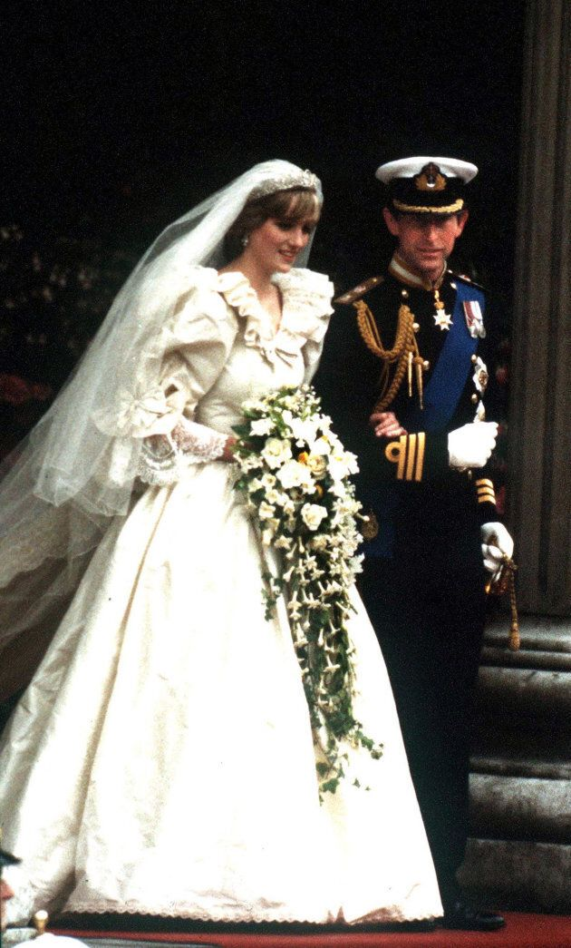 The Prince and Princess of Wales leave St Paul's Cathedral after their wedding, July 29,