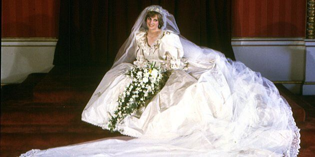 Diana, Princess of Wales, in her wedding dress.