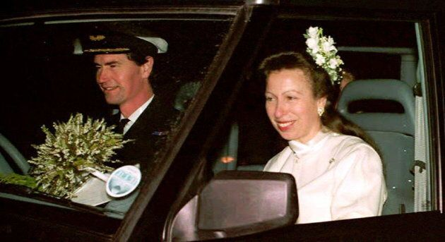 Commander Tim Laurence and Princess Anne are seen in their car after their wedding at Crathie Church,...