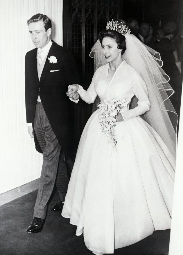 Princess Margaret and her new husband Antony Armstrong-Jones leave Westminister Abbey after their