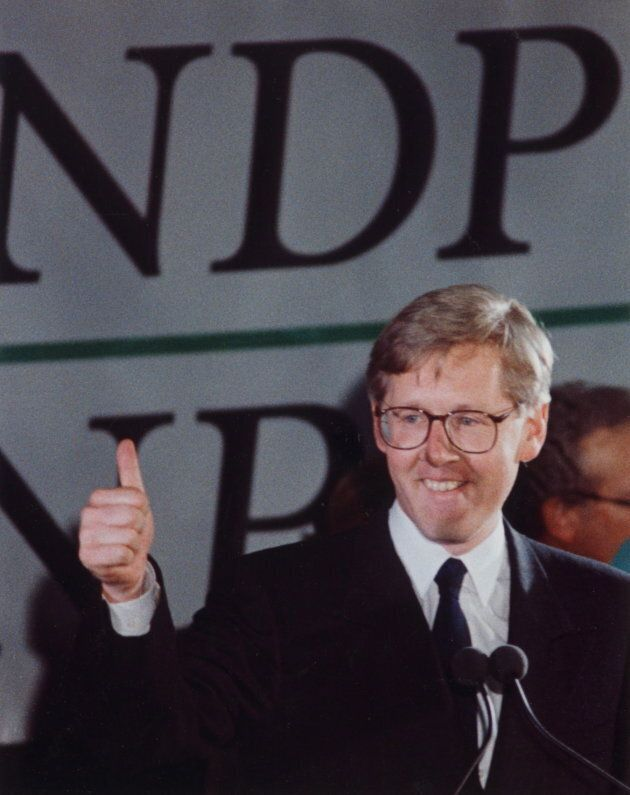 Ontario NDP Leader Bob Rae gives the thumbs up sign after leading his party to victory in the Ontario...