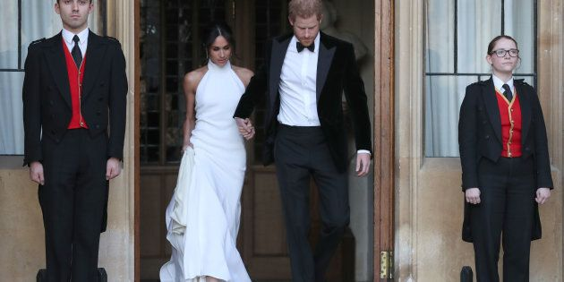 The Duke and Duchess of Sussex leave Windsor Castle after their wedding to attend an evening reception...
