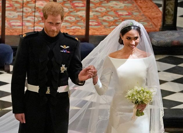 Prince Harry and Meghan Markle in St George's Chapel at Windsor Castle during their wedding