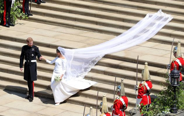 Prince Harry, Duke of Sussex and The Duchess of Sussex leave St George's Chapel, Windsor Castle after...