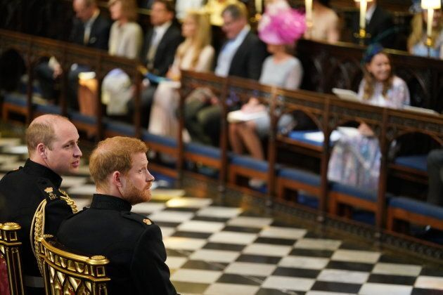 Britain's Prince Harry, Duke of Sussex, right, and Prince Harry's brother and best man, Prince William, Duke of Cambridge, on the left, wait in the chapel ahead of his wedding.