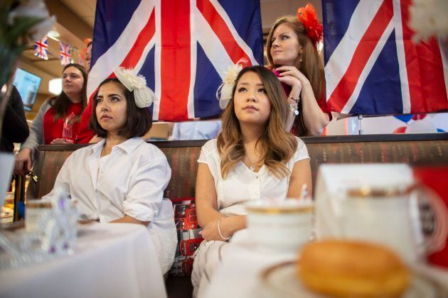 Fans of the royals gather at a Tim Hortons in London, Ont., to watch the wedding of Meghan Markle and...