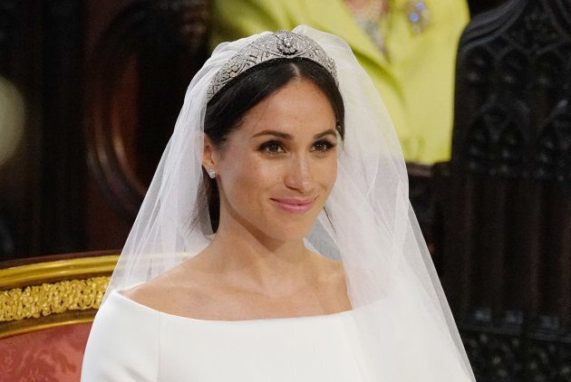 Meghan Markle stands at the altar during her wedding in St George's Chapel at Windsor Castle on May 19,...