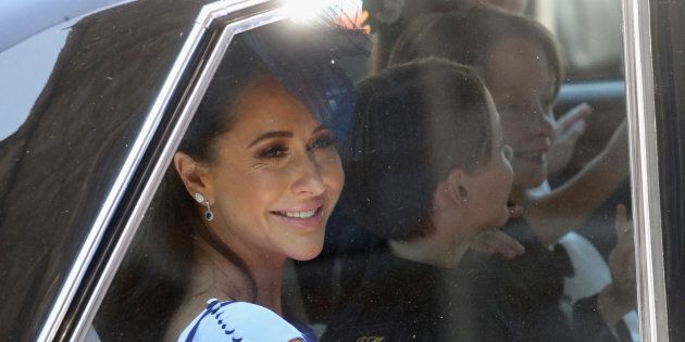 Jessica Mulroney arrives at the wedding of Prince Harry to Ms Meghan Markle at St George's Chapel, Windsor...