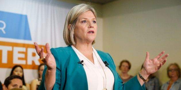 Ontario NDP Leader Andrea Horwath speaks at a campaign stop in Ottawa on May 20,