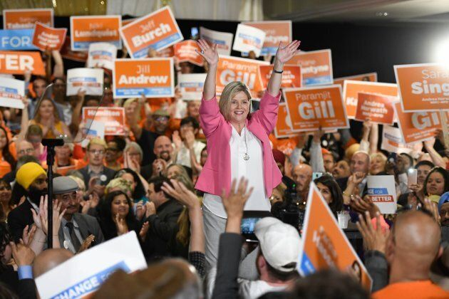 Ontario NDP Leader Andrea Horwath waves to supporters at an NDP rally in Brampton, Ont. on May 21,