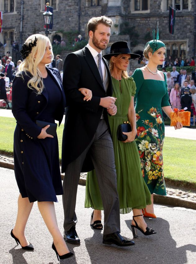 Eliza Spencer, Louis Spencer, Victoria Aitken and Kitty Spencer arrive for the wedding ceremony of Prince...