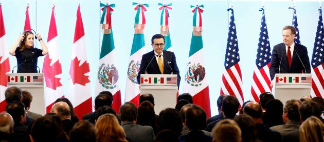 Foreign Minister Chrystia Freeland, Mexican Economy Minister Ildefonso Guajardo and U.S. Trade Representative...
