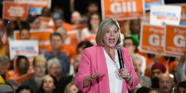 Ontario NDP Leader Andrea Horwath speaks to a packed room of supporters at an NDP rally in Brampton on...